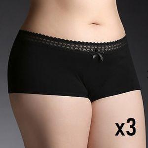 722764143a5b NWT 3 PACK TORRID Black Cotton Boyshort Panty 2X